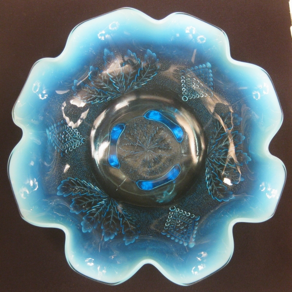 Antique Jefferson Blue Opalescent Glass Leaf and Diamonds Footed Bowl