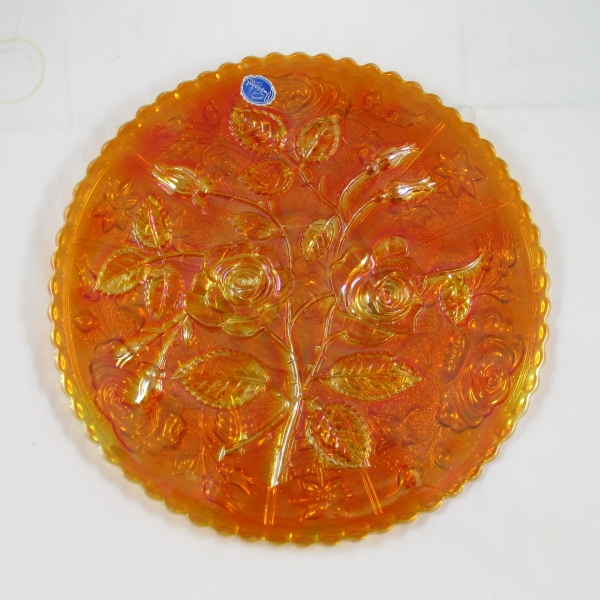 Imperial Open Rose Marigold Carnival Glass Chop Plate