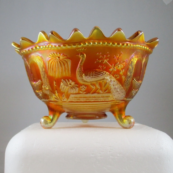 Antique Northwood Marigold Peacock at the Fountain Carnival Glass Fruit Bowl