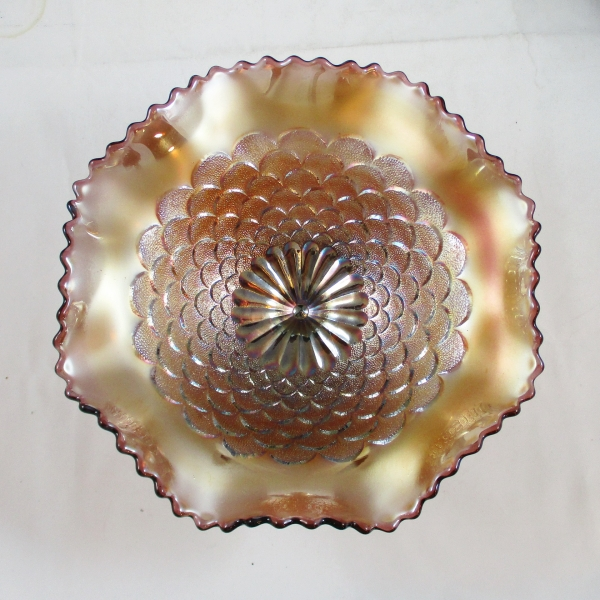 Antique Northwood Petals Amethyst Carnival Glass Compote