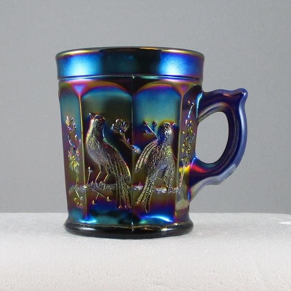 Antique Northwood Singing Birds Blue Carnival Glass Mug