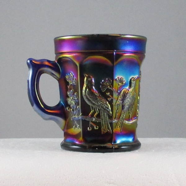 Antique Northwood Singing Birds Blue Carnival Glass Mug