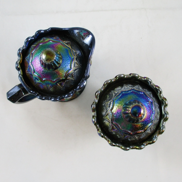 Westmoreland for Levay Amethyst Strutting Peacocks Carnival Glass Cream and Sugar Set