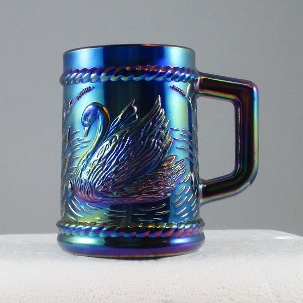 Fenton for Singleton Bailey Cobalt Blue Swan Carnival Glass Mug