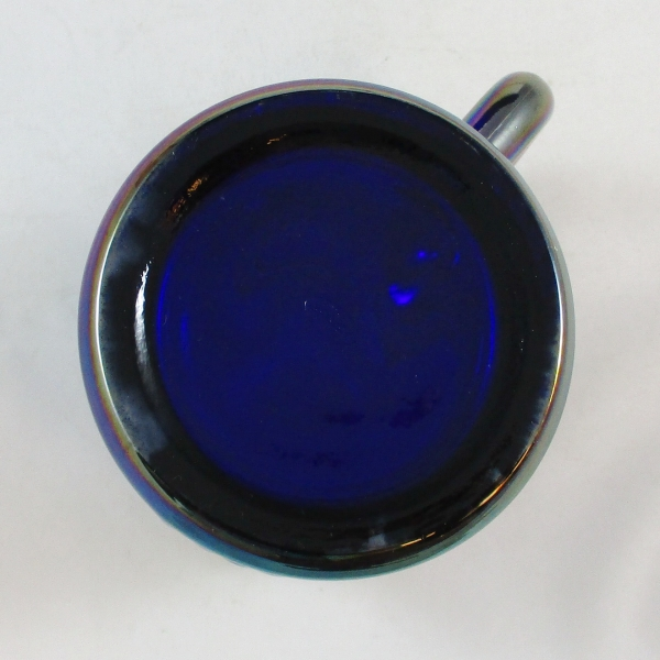 Fenton for Singleton Bailey Cobalt Blue Swan Carnival Glass Mug