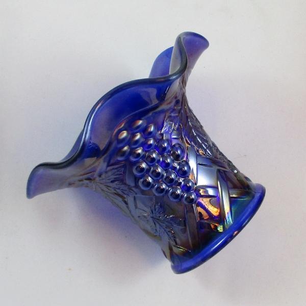 Antique Northwood Cobalt Blue Grape Arbor Carnival Glass Hat Vase