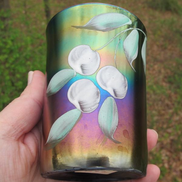 Antique Northwood Enameled Cherries Blue Carnival Glass Tumbler