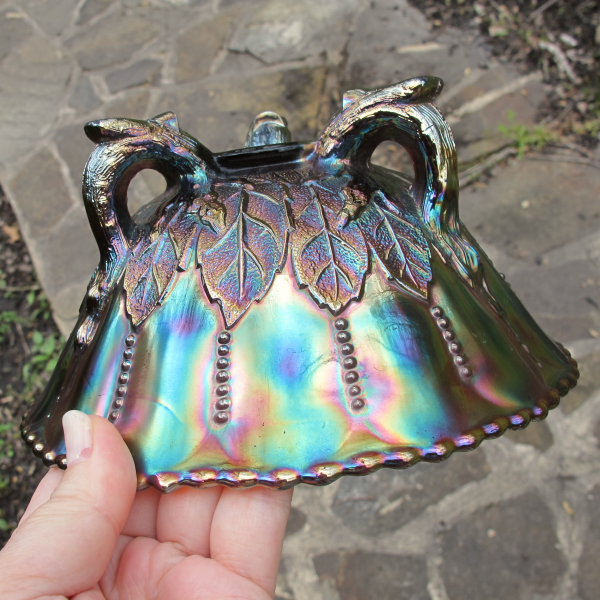 Antique Northwood Leaf & Beads Amethyst Carnival Glass Flared Nut Bowl Beaded Rim