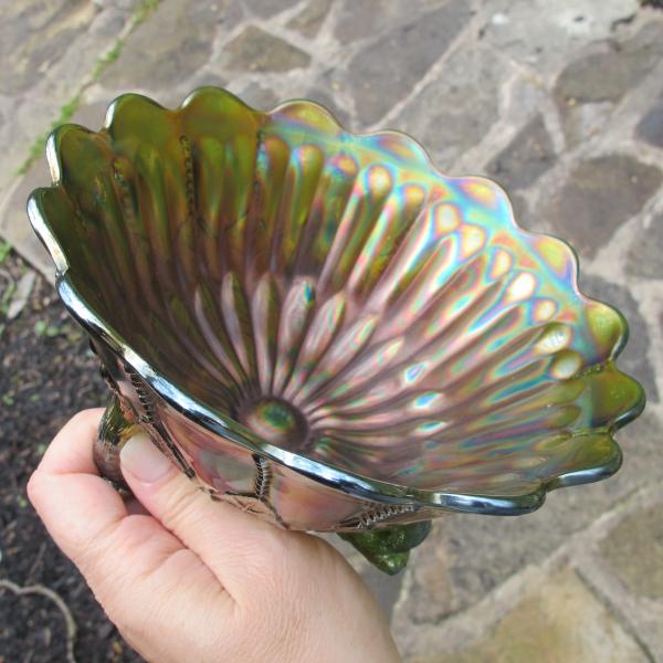 Antique Northwood Leaf & Beads Green Carnival Glass Flared Nut Bowl