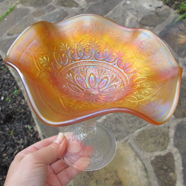 Antique Northwood Hearts and Flowers Marigold Carnival Glass Compote