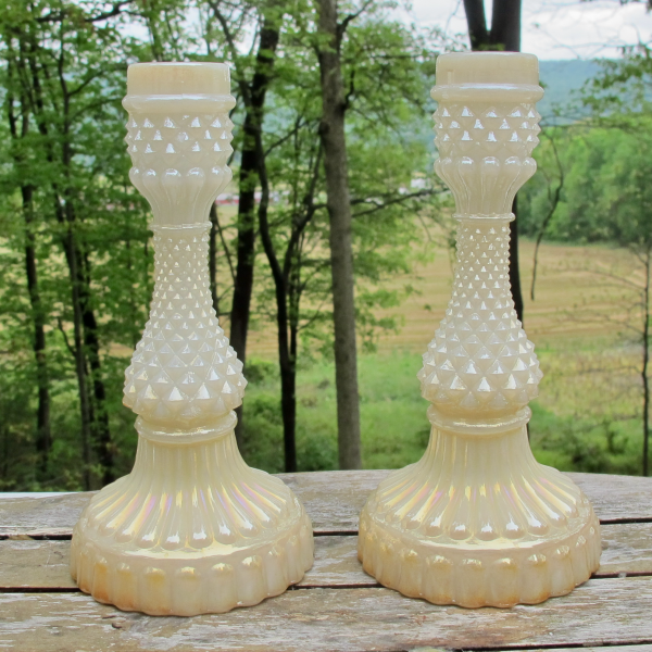 Antique Phoenix Sawtooth Pearlized Milk Carnival Glass Candleholders