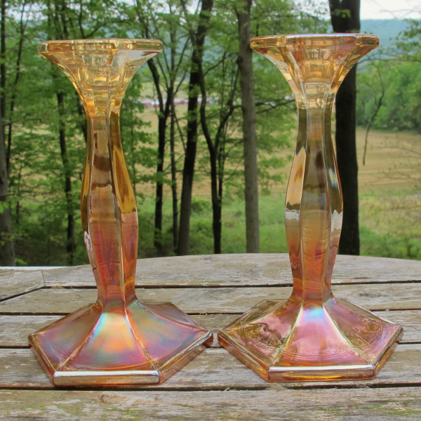 Antique Fenton Portly Grecian Gold Stretch Carnival Glass Candleholders #249