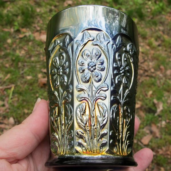 Antique Fenton Blue Milady Carnival Glass Tumbler