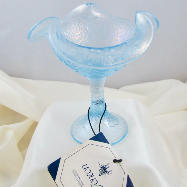 Fenton Ice Velva Blue Persian Medallion Art Carnival Glass Tri-Corner Compote Stretchy