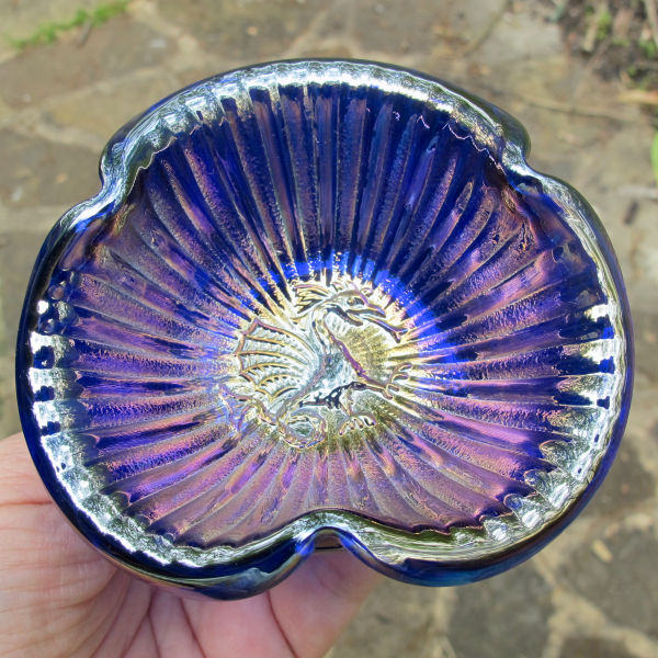 Fenton Blue Dragon Stippled Rays Carnival Glass Tri-corner Miniature Bowl