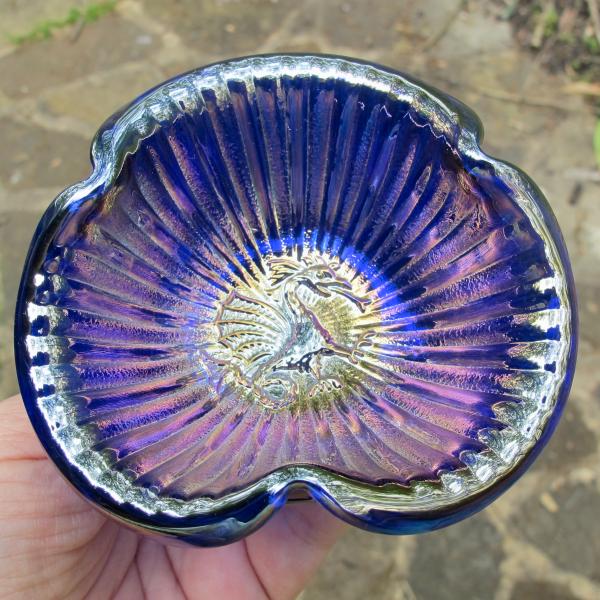 Fenton Blue Dragon Stippled Rays Carnival Glass Tri-corner Miniature Bowl