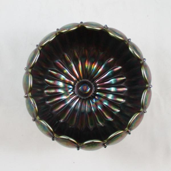 Antique Northwood Amethyst Leaf & Beads Carnival Glass Rose Bowl