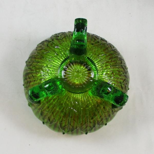 Antique Northwood Green Leaf & Beads Carnival Glass Rose Bowl
