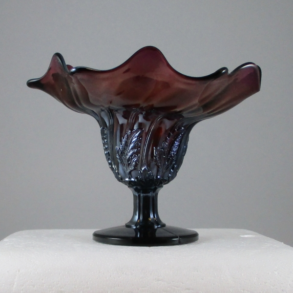 Antique Westmoreland Leaf Swirl Amethyst Carnival Glass Compote