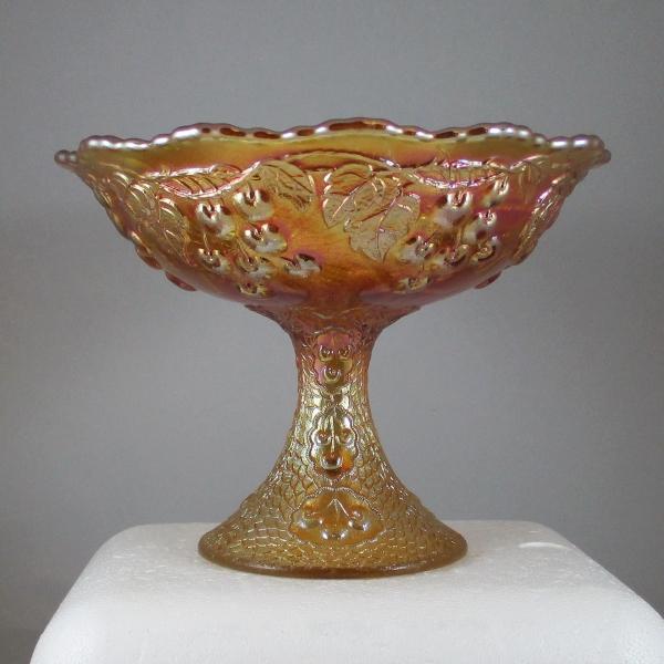 Antique Fenton Marigold Mikado Carnival Glass Round Fruit Compote
