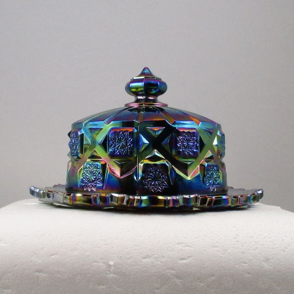 Summit Art Glass Amethyst Old Quilt Carnival Glass Butter Dish