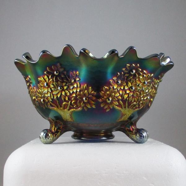 Antique Fenton Blue Orange Tree Carnival Glass Large Fruit Bowl