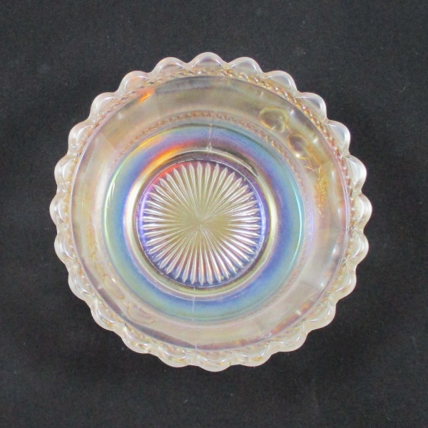 Antique Northwood White with Gold Peach Carnival Glass Sauce Bowl