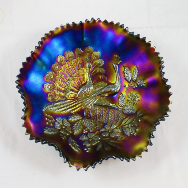 Antique Northwood Peacocks (on the Fence) Amethyst Carnival Glass Bowl