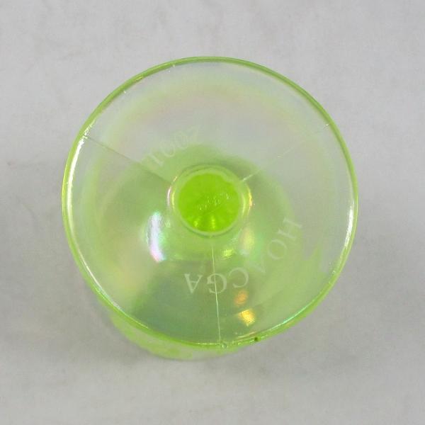 Fenton Vaseline Opal Orange Tree Carnival Glass Goblet 2001