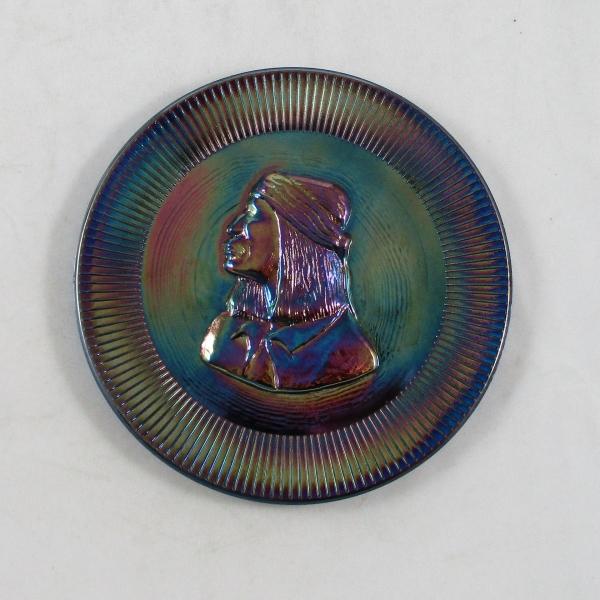 Big Pine Key Glass Cobalt Blue Apache Scout Carnival Glass Plate