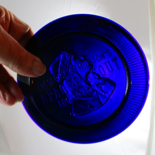 Big Pine Key Glass Cobalt Blue Apache Scout Carnival Glass Plate
