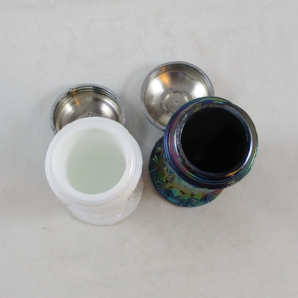 Fenton Black Amethyst & Pearlized White Fine Cut & Block Carnival Glass Salt & Pepper Set