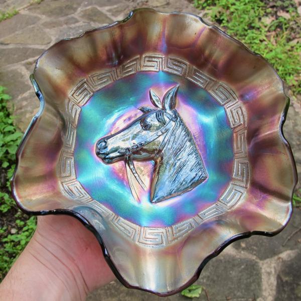 Antique Dugan Pony Amethyst Carnival Glass Bowl