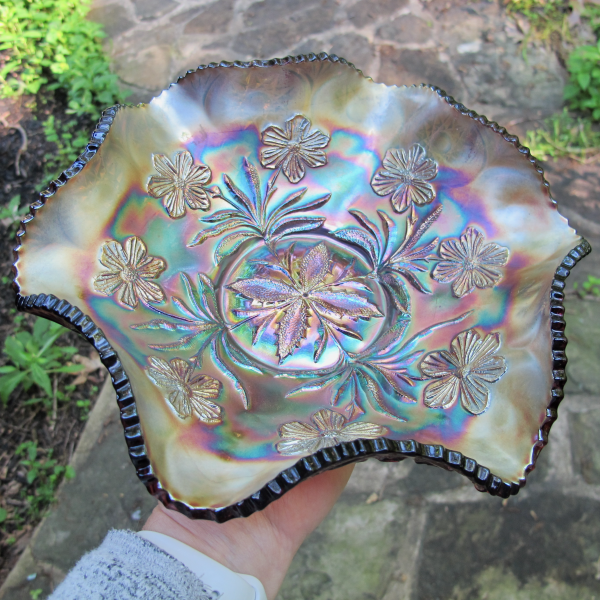 Antique Millersburg Primrose Amethyst Carnival Glass Bowl