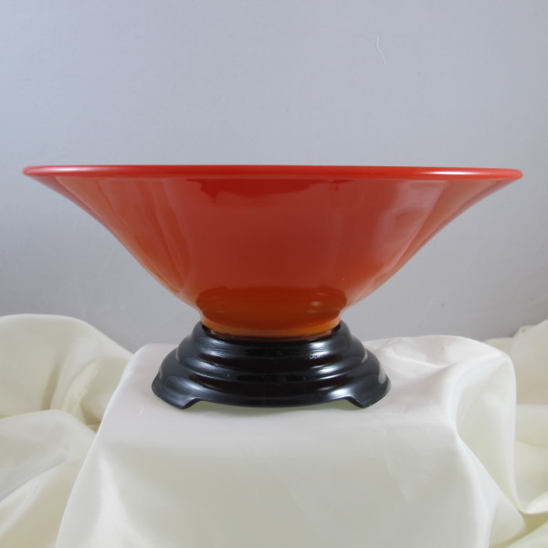 Antique Northwood 1924 Citizens Mutual Trust Wheeling WVA Chinese Coral Slag Glass Bowl w Stand