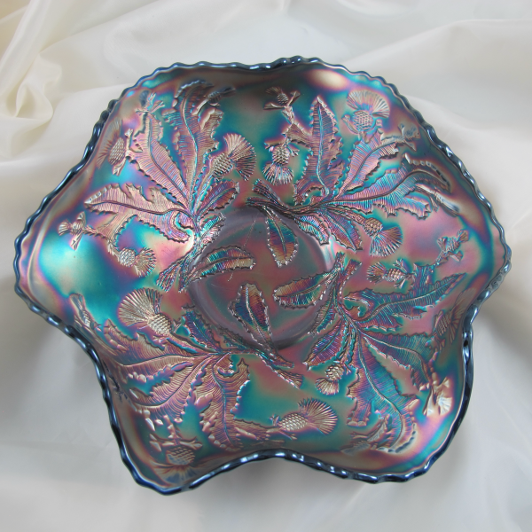 Antique Fenton Thistle Blue Carnival Glass Bowl