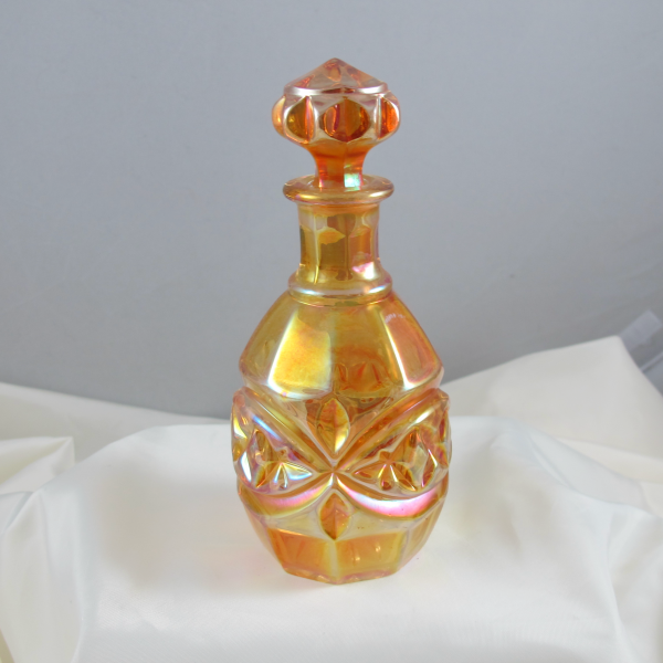 Antique Inwald Double Diamonds Marigold Carnival Glass Perfume Cologne Bottle - Larger
