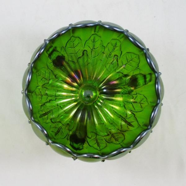 Antique Northwood Green Leaf & Beads w/Sunflower Carnival Glass Rose Bowl