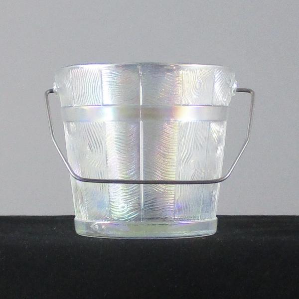 LE Smith White Oaken Bucket Carnival Glass Wire Handled Bucket