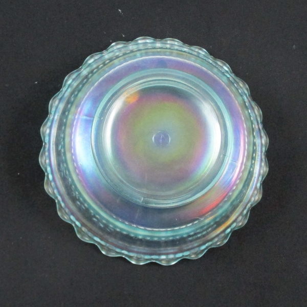 Antique Northwood Peacock at the Fountain Ice Blue Carnival Glass Berry Bowl