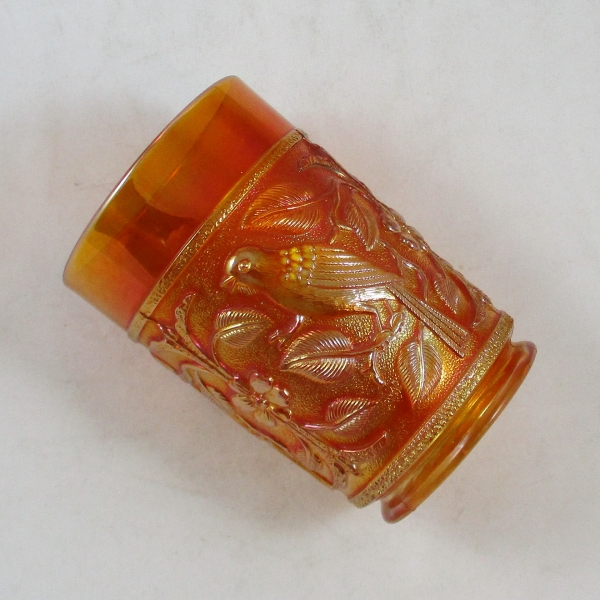 Antique Imperial Marigold Robin Carnival Glass Tumbler