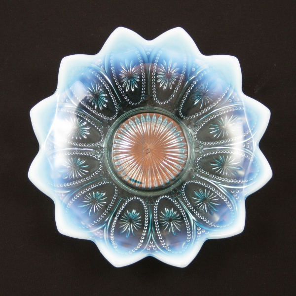 Antique Northwood Blue Opalescent Glass Spoke and Wheels Bowl