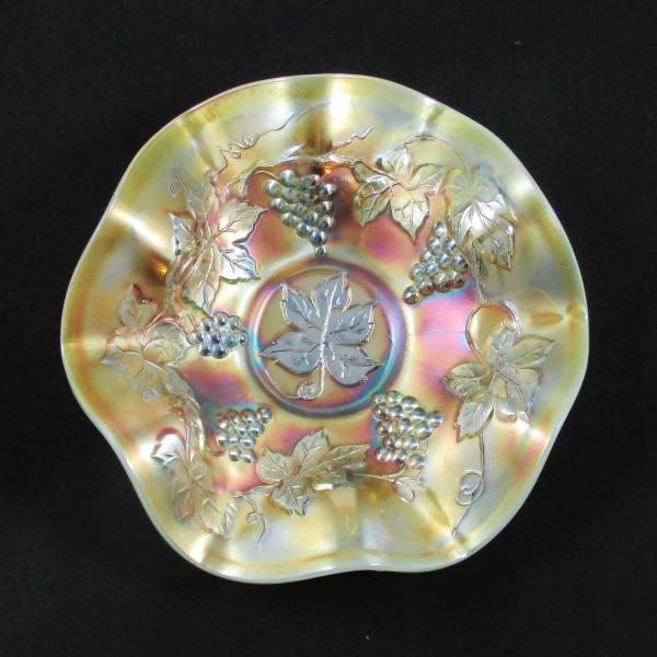 Antique Fenton Vintage Grape Aqua Opal Carnival Glass Bowl