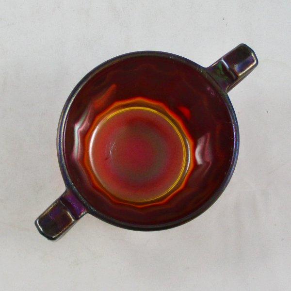 Antique Imperial Ruby Red #22/27 Stretch Carnival Glass Open Sugar Bowl