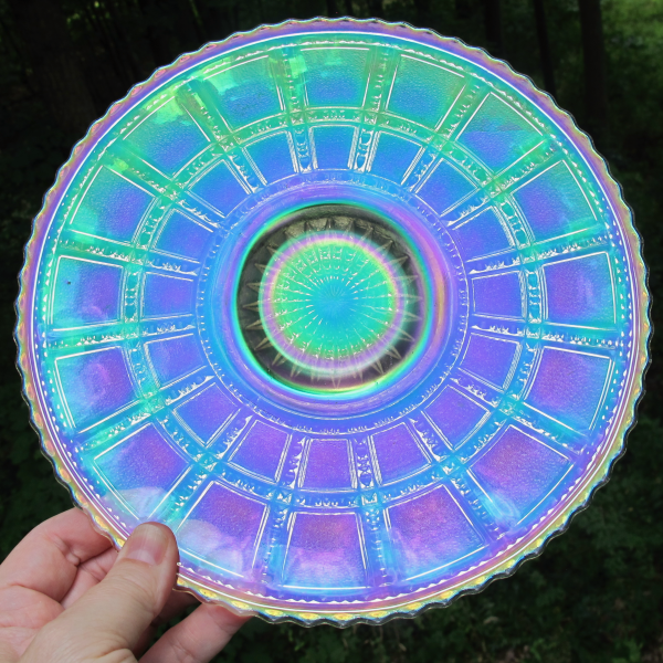 Antique Imperial Frosted Block Clambroth Carnival Glass Plate