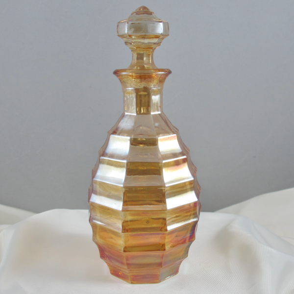 Antique Czech Marigold Ribs Carnival Glass Taller Perfume Bottle