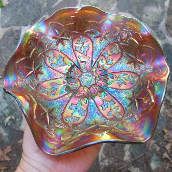 Antique Millersburg Little Stars Amethyst Carnival Glass Bowl