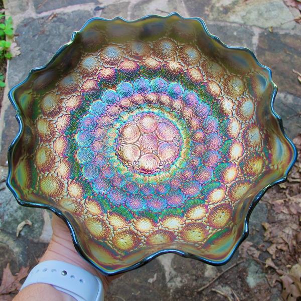 Antique Fenton Feather Stitch Blue Carnival Glass Bowl