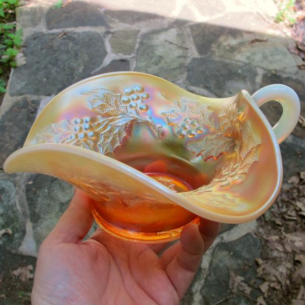 Antique Dugan Holly Berry Peach Opal Carnival Glass Gravy Boat Bowl