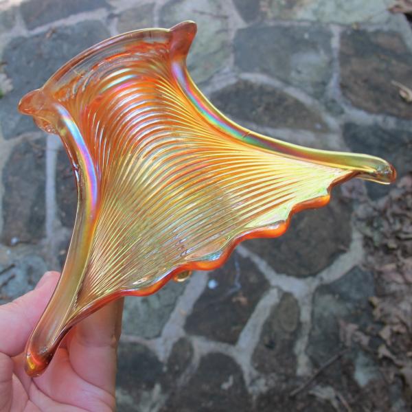 Antique Northwood Drapery Pumpkin Marigold Carnival Glass Flared Vase Candy Dish